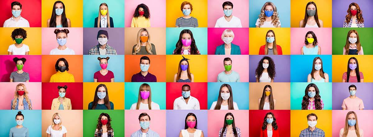 collage of people with covid masks on